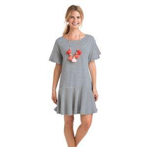 Vineyard Vines Striped Flutter Sleeve Dress XL